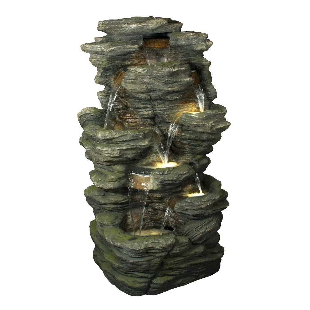 51 34 Multi Level Natural Rock Fountain With Led Lights Brown Hi Line Gift