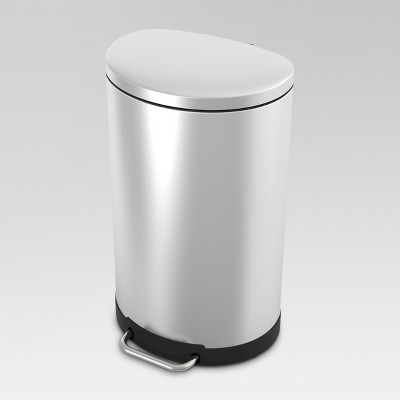 40L Semi Round Wire Pedal Step Trash Can Stainless Steel - Threshold™