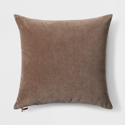 Velvet with Zipper Square Throw Pillow Brown - Threshold™