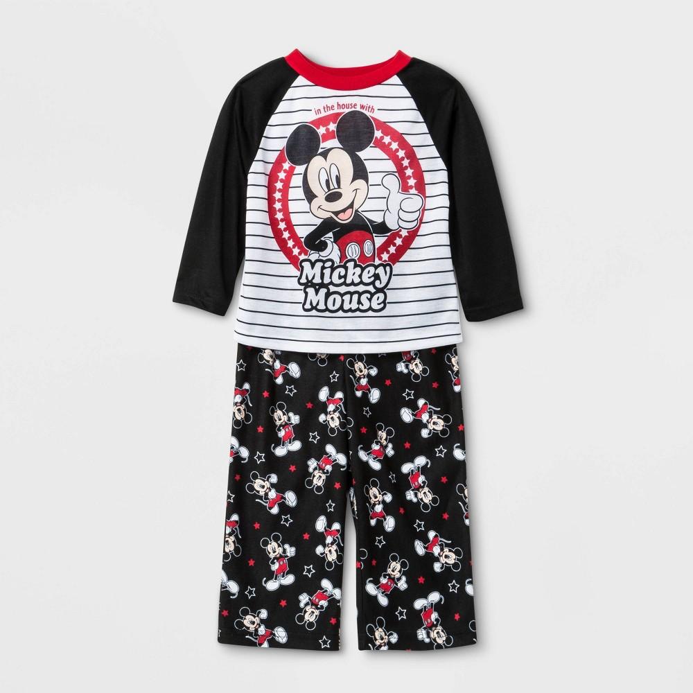 Image of Baby Boys' 2pc Mickey Mouse Poly Pajama Set - White 18M, Boy's