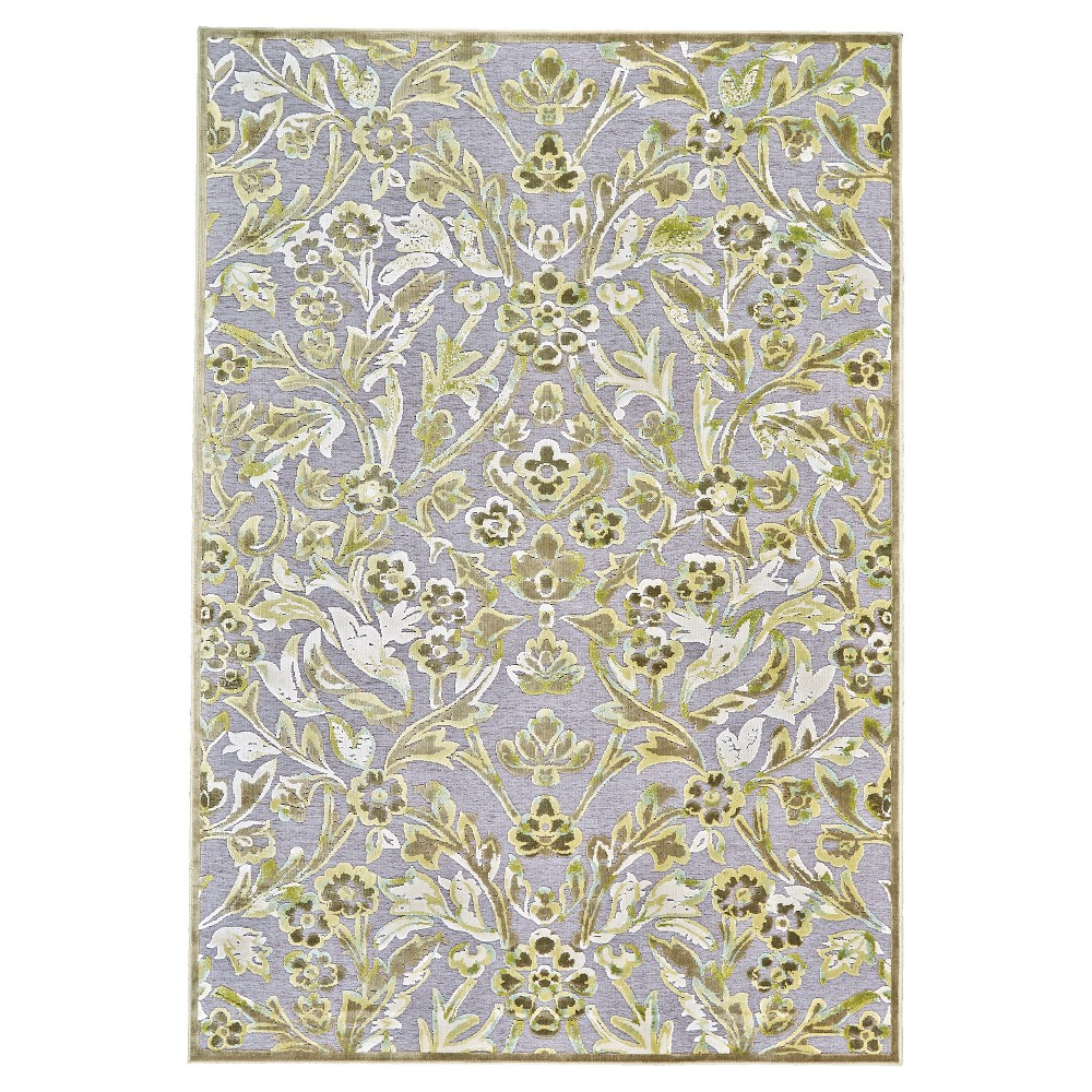 Jacquard Woven Accent Rugs Pewter/Dark Green
