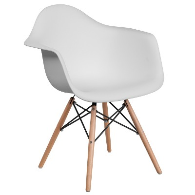 Emma and Oliver Plastic Accent Dining Chair with Arms and Wooden Legs