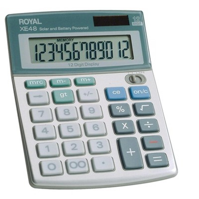 Royal XE48 12-Digit Compact Calculator White/Green ROY29306S