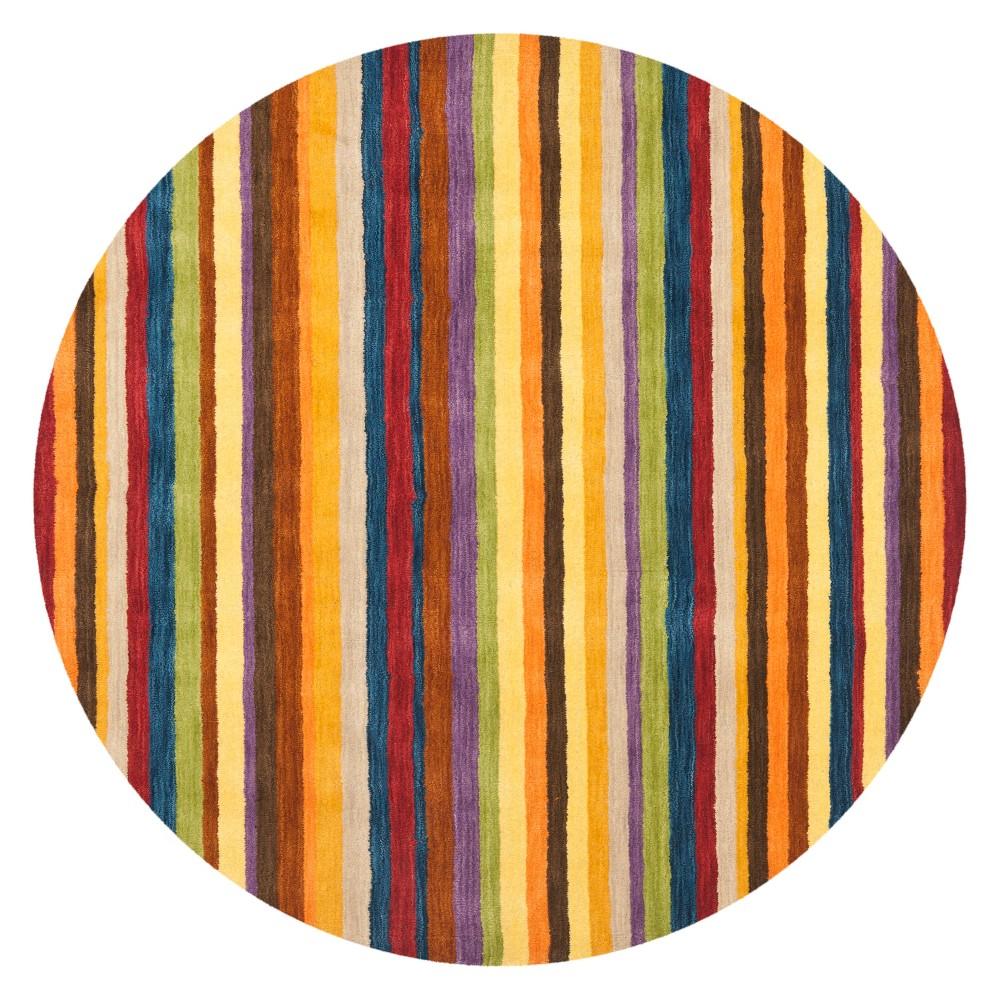 8' Stripe Loomed Round Area Rug Red - Safavieh