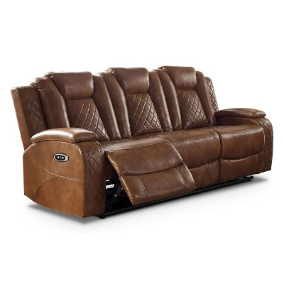 Edanola Upholstered Sofa with 2 Power Recliner and USB Plug Brown - HOMES: Inside + Out