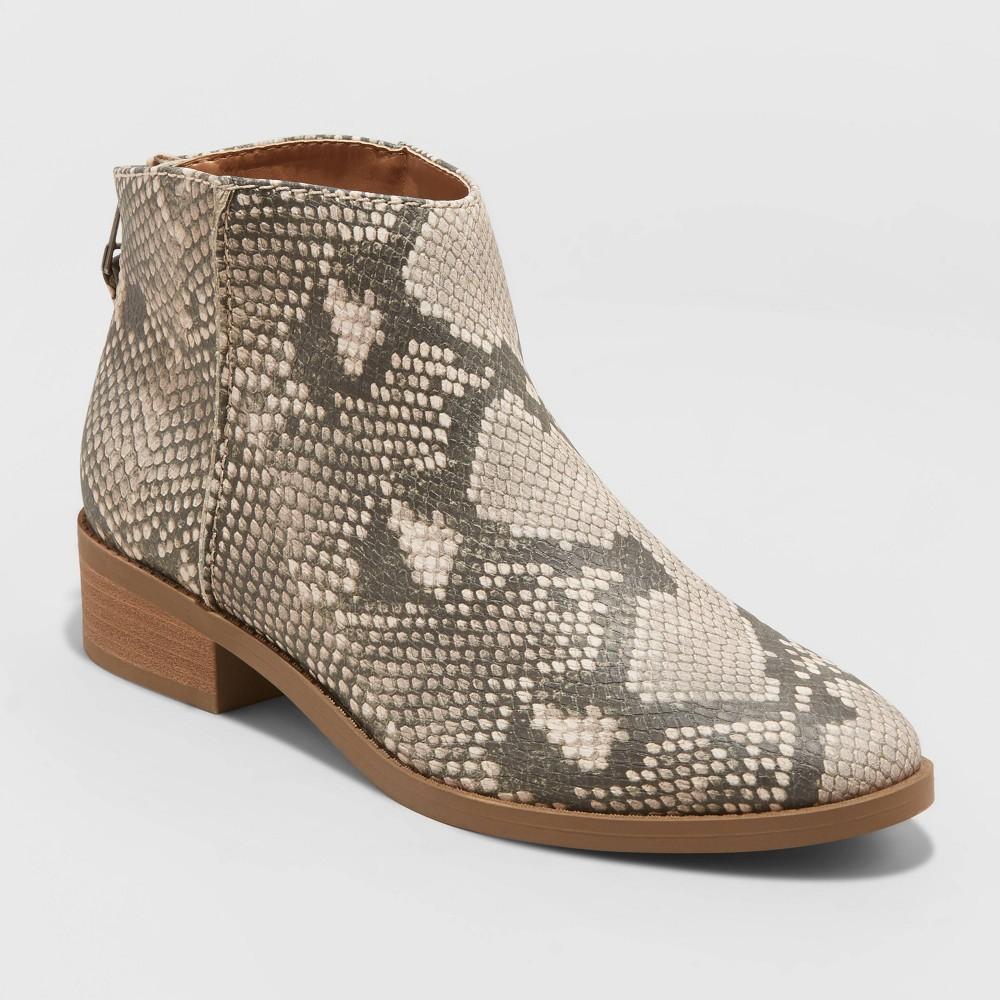 Women 39 S Emma Snake Print Ankle Bootie Universal Thread 8482 Gray 8