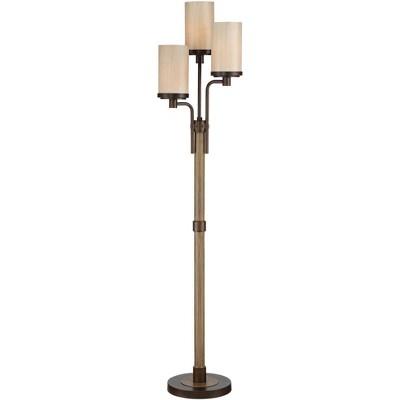 Franklin Iron Works Rustic Farmhouse Floor Lamp 3-Light Tree Bronze Faux Wood Tea Alabaster Glass for Living Room Bedroom Uplight