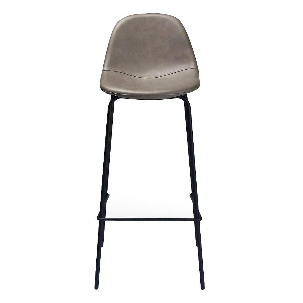 Maxine Modern Upholstered Faux Leather Barstool (Set of 2) - Smoke (Grey) - Aeon