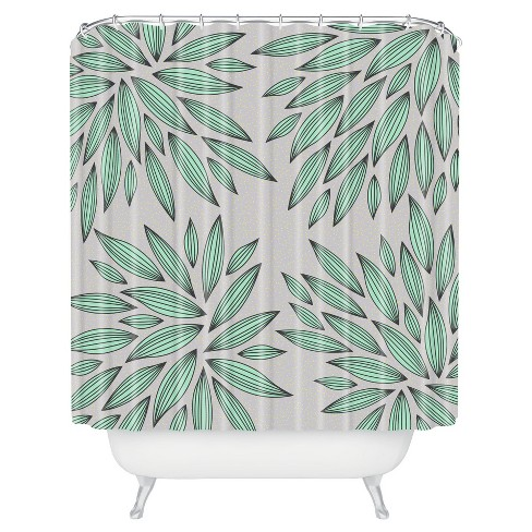 Shapes Shower Curtain Asrtesian Mint/Gray - Deny Designs® - image 1 of 1