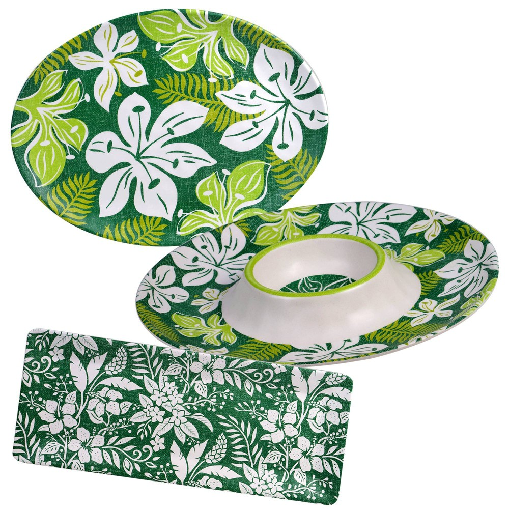 Image of 3pc Melamine Tropicali Serving Set Green - Certified International