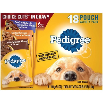Pedigree Pouch Choice Cuts In Gravy Wet Dog Food Beef, Grilled Chicken & Filet Mignon - 3.5oz/18ct Variety Pack