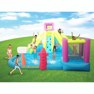 Kahuna 90778 Twin Peaks Outdoor Inflatable Backyard Kid Pool Water Park Two Slides Two Basketball Hoops Climbing Wall Sprinklers and Bounce House