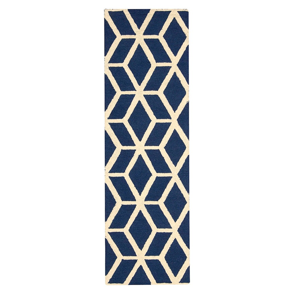 "Image of ""Nourison Kinetic Linear Accent Rug - Blue/Ivory (2'3""""X7'6"""" Runner)"""