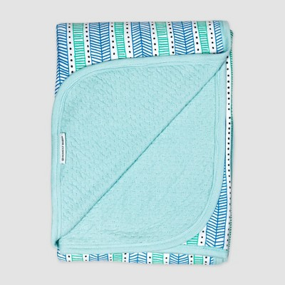 Honest Baby Organic Cotton Reversible Mini-Quilted Receiving Blanket - Teal Geometric
