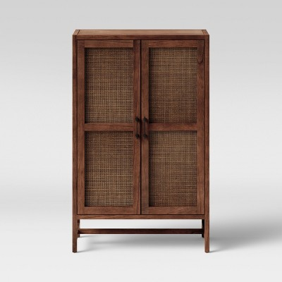 Warwick Wood & Rattan Library Cabinet Brown - Threshold™