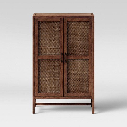 Warwick Wood & Rattan Library Cabinet Brown - Threshold™ - image 1 of 4