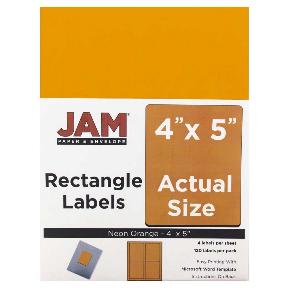Jam Paper Shipping Labels 4 x 5 120ct - Neon Orange