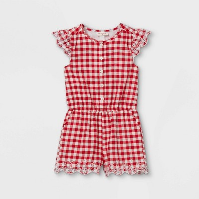 Toddler Girls' Gingham Romper - Cat & Jack™ Red/White