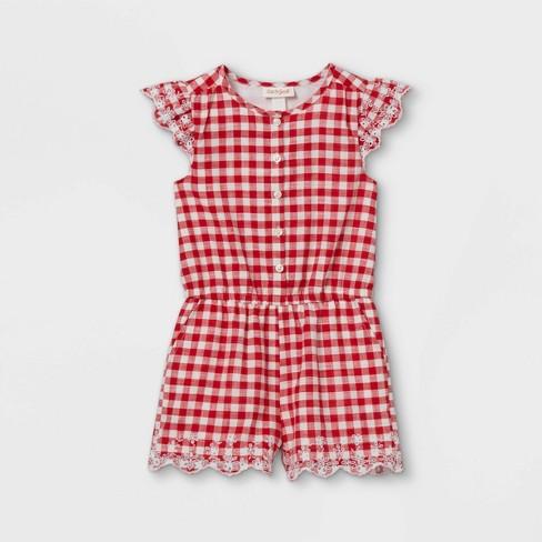 Toddler Girls' Gingham Romper - Cat & Jack™ Red/White - image 1 of 2