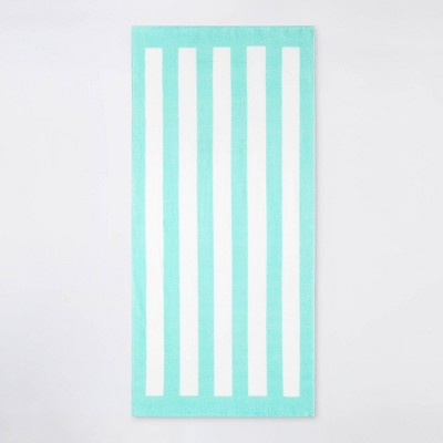 Cabana Stripe Beach Towel Aqua/White - Sun Squad™