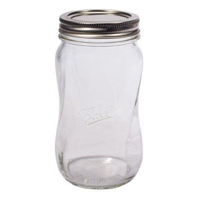 Ball 4ct Collection Elite Spiral Glass Mason Jar with Lid and Band - Regular Mouth
