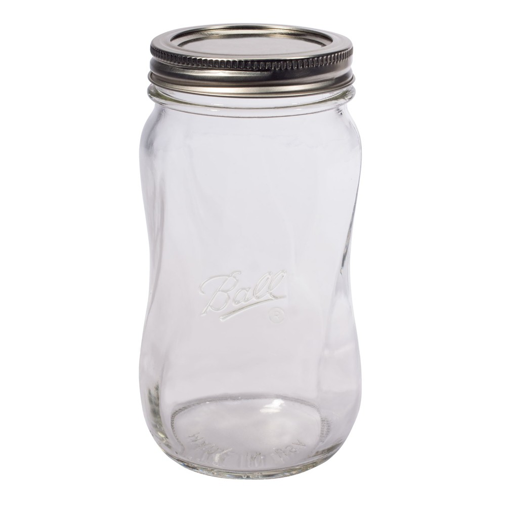 Image of Ball 4ct Collection Elite Spiral Glass Mason Jar with Lid and Band - Regular Mouth, Clear