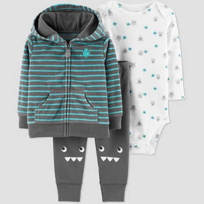 Baby Boys' 3pc Monster Stripe Cardigan Set - Just One You® made by carter's Dark Gray Newborn