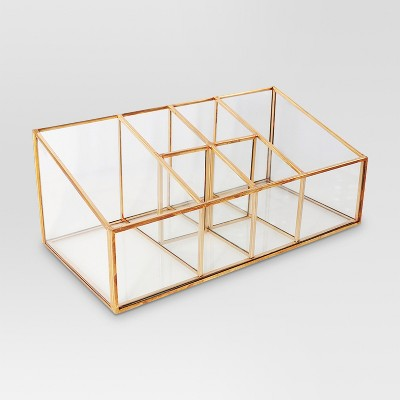 Glass and Metal Incline 6 Compartment Vanity Organizer - Threshold™