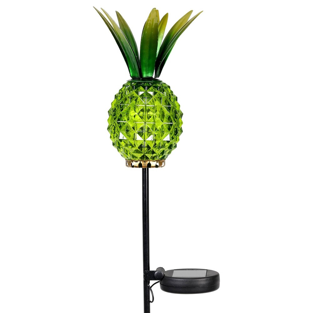 29 34 Glass And Metal Solar Pineapple Garden Stake Green Exhart