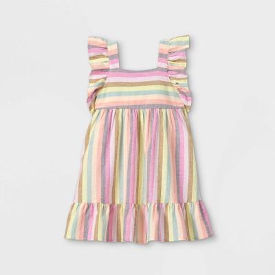 Toddler Girls' Striped Ruffle Sleeve Dress - Cat & Jack™