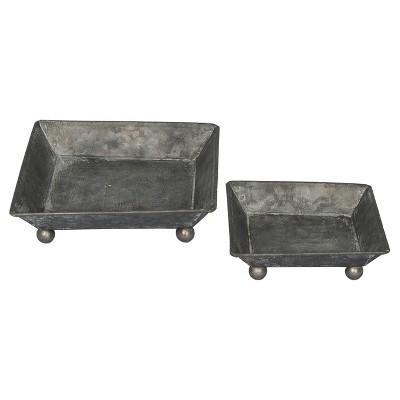 Metal Decorative Tray Set Dark Gray 2pk - VIP Home & Garden