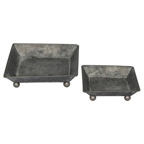 Metal Decorative Tray Set Dark Gray 2pk - VIP Home & Garden - image 1 of 3