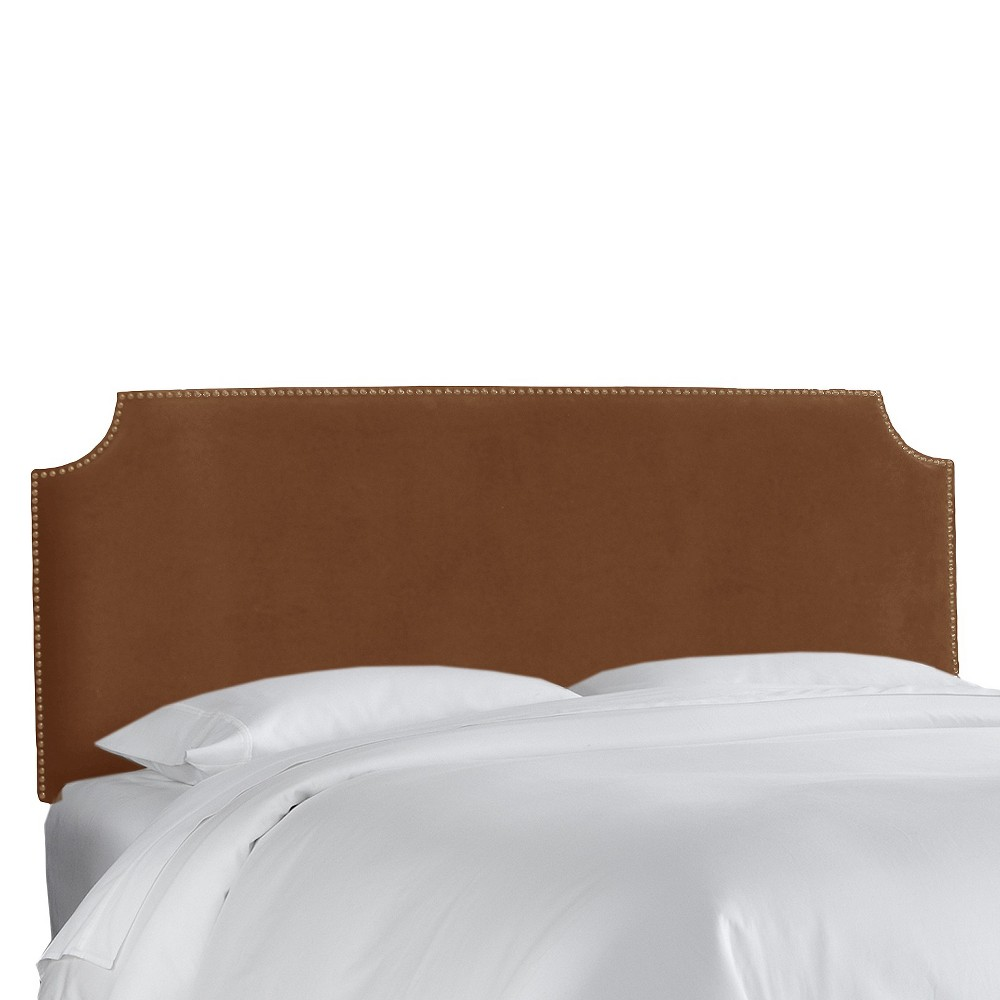 King Lombard Nail Button Notched Headboard Brown Microfiber - Skyline Furniture