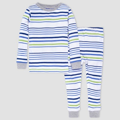 Burt's Bees Baby® Baby Boys' 2pc Striped Snug Fit Pajama Set - Heather Gray