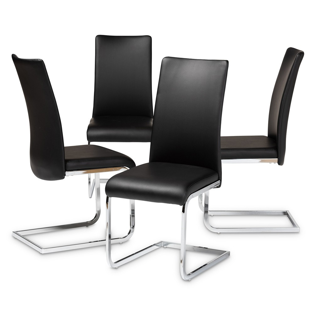Cyprien Modern and Contemporary Faux Leather Upholstered Dining Chairs Set of 4 Black - Baxton Studio