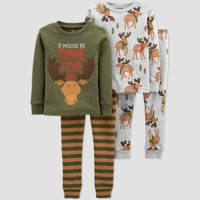 Toddler Boys' 4pc Moose Pajama Set - Just One You® made by carter's Brown/Green 2T