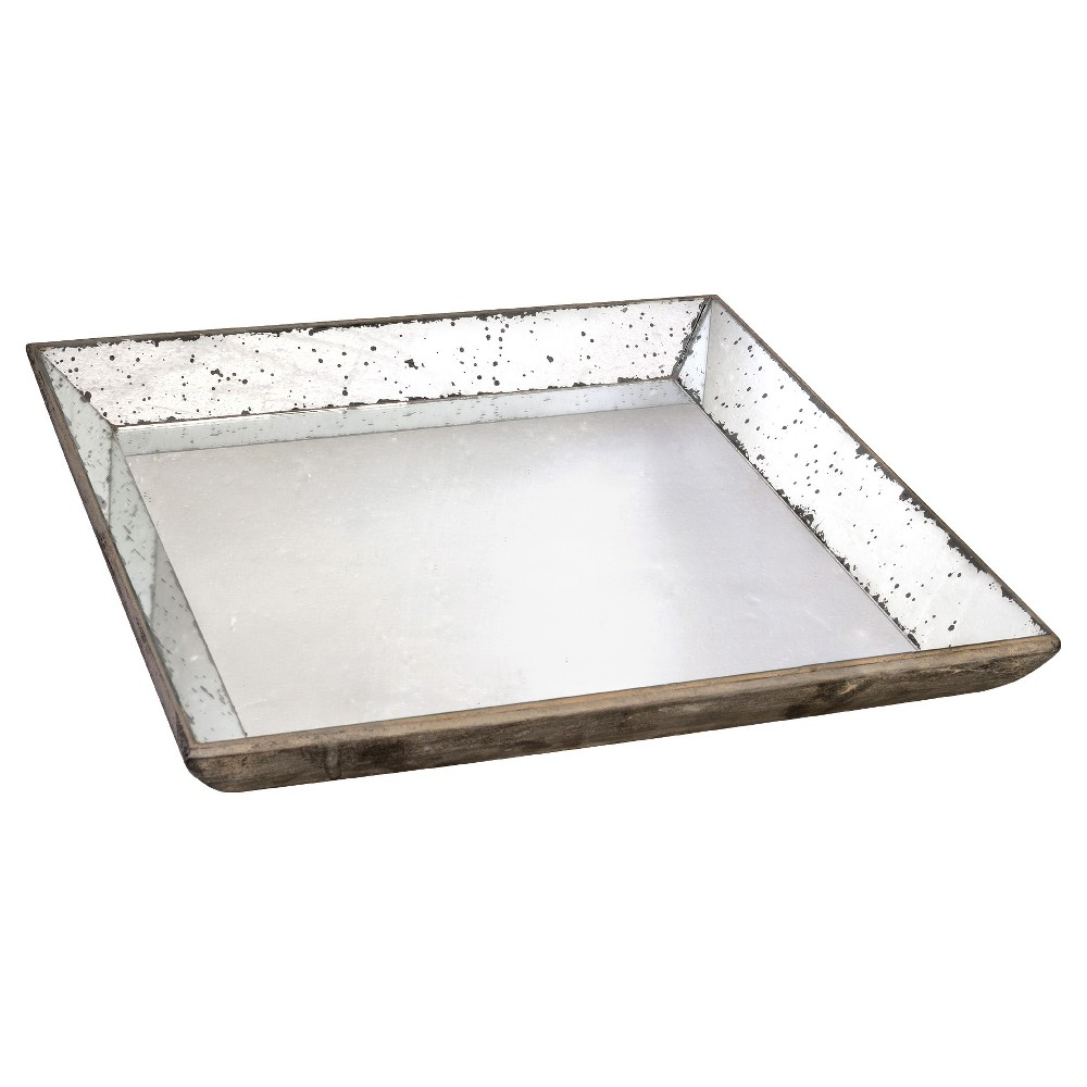 Vintage Finish Mirrored Glass Tray - 24x24 - A&b Home, Silver Gray