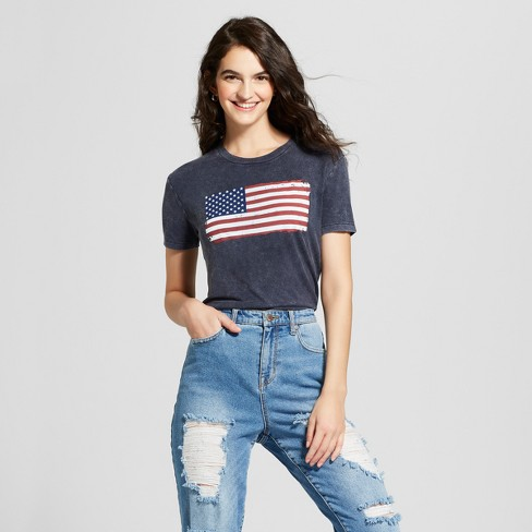 Women's American Flag Mineral Washed Short Sleeve Graphic T-Shirt - Zoe+Liv (Juniors') Navy Blue - image 1 of 2