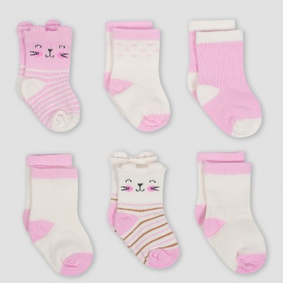 Gerber® Baby Girls' 6pk Jersey Crew Wiggle Proof Sock Princess - Pink/Cream 0/6M