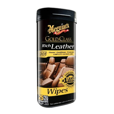 Meguiars 25ct Gold Class Rich Leather Cleaning and Conditioning Wipes