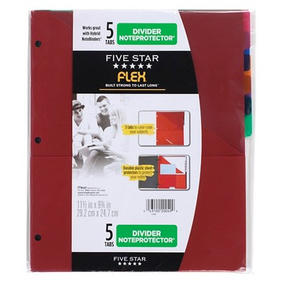 Five Star 5 Tab Flex NoteProtector Binder Insert (Color Will Vary)