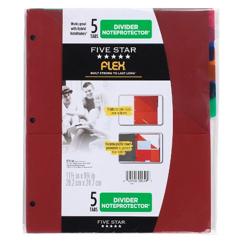 five star flex noteprotector binder insert 5 tabs multicolor target