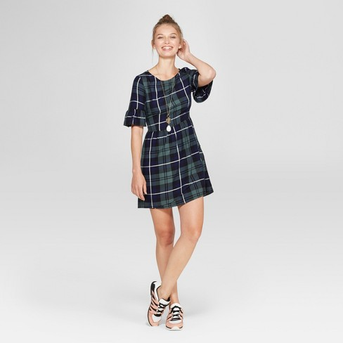Women's Plaid Ruffle Sleeve Dress - Lots of Love by Speechless (Juniors') Green - image 1 of 2
