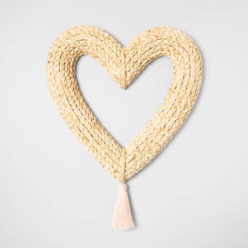 "15"" x 14.7"" Dried Corn Husk Heart Wreath Natural - Opalhouse™ - image 1 of 1"