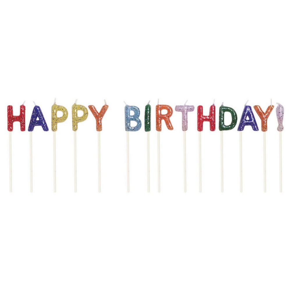 Happy Birthday Glitter Pick Candles