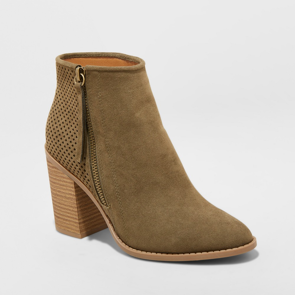 Women's Crissy Laser Cut Heeled Ankle Booties - Universal Thread Green 5