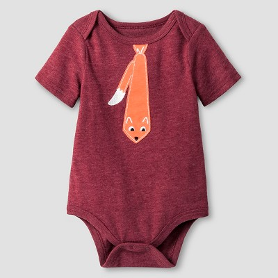 Baby Boys' Short Sleeve Fox Tie Bodysuit Cat & Jack™ - Deep Red 6-9M