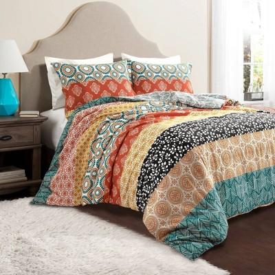 3pc Bohemian Stripe Duvet Set Turquoise/Orange - Lush Décor