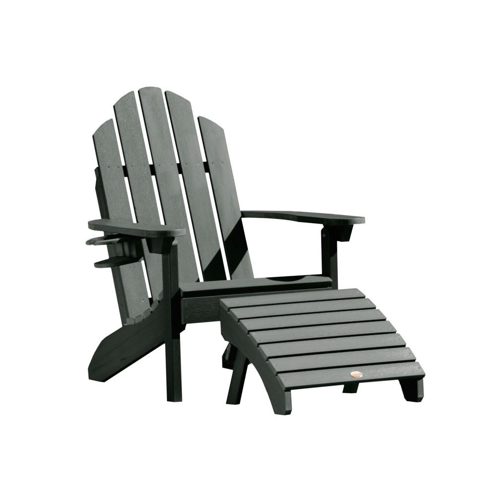 Classic Westport Adirondack Chair with Easy-Add Cup Holder & Folding Adirondack Ottoman Charleston Green - Highwood