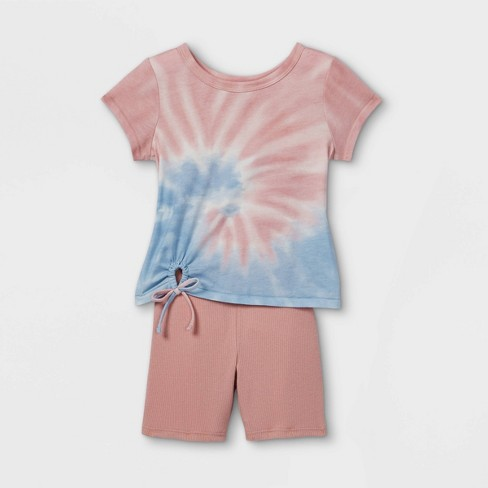 Toddler Girls' 2pc Tie-Dye T-Shirt & Rib Bike Shorts Set - art class™ - image 1 of 2